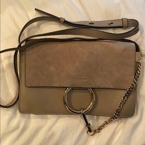 Chloe small Faye cross body bag, Grey/taupe